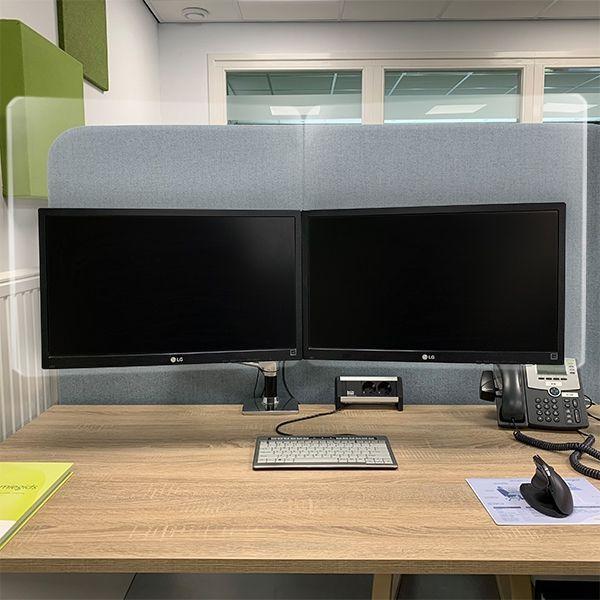 Ergowork plexiglas scherm voor beeldschermwerkplekken