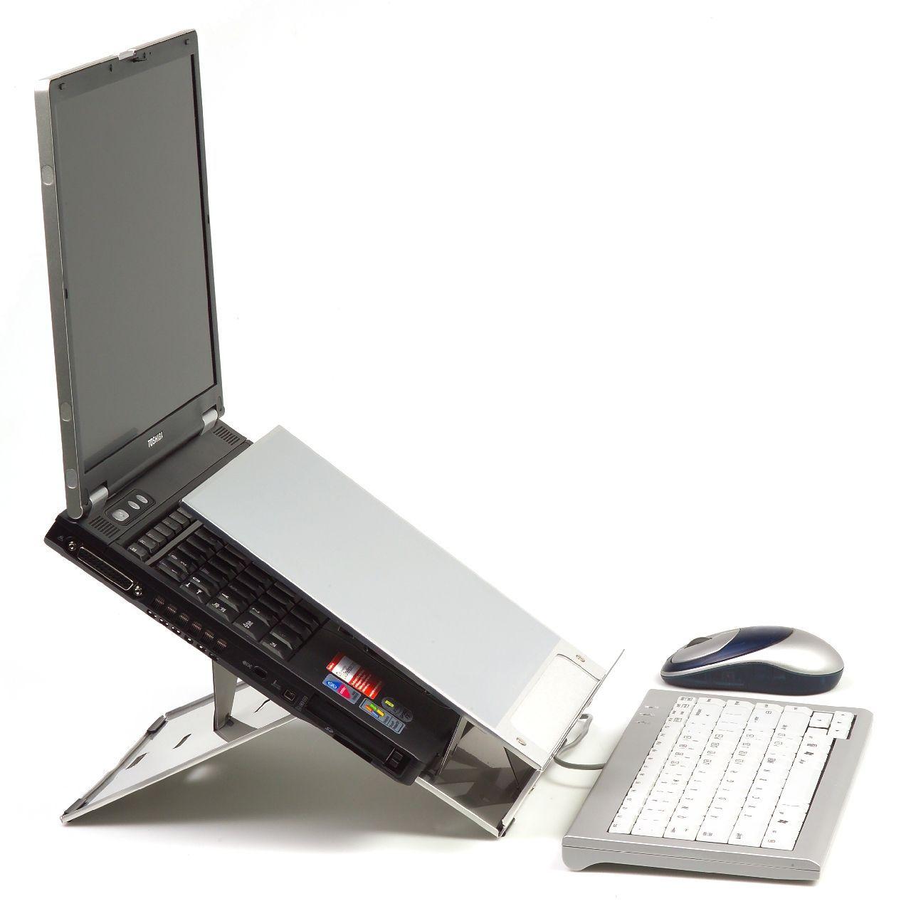 Ergo Q 220 laptophouder Zijkant met laptop