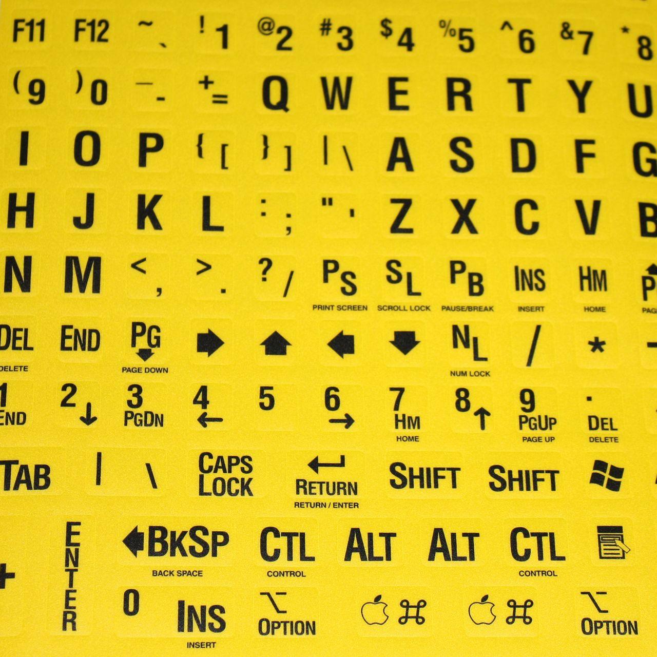 Contraststickers voor op het toetsenbord Hulpmiddel slechtzienden
